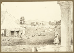 View of Sherghati and the Detarrah Hills (Bihar) from the Kacheri Bungalow; a tent, veranda of bungalow and silver stick bearer in foreground. 20 February 1823